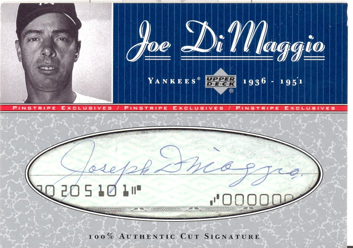 2001 Upper Deck Pinstripe Exclusives DiMaggio Memorabilia #C6 J.DiMaggio Cut/5