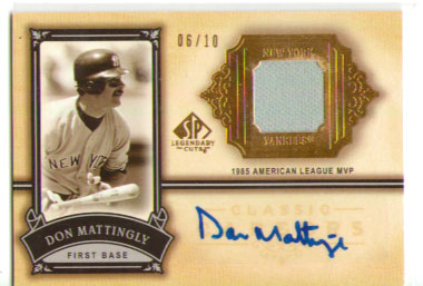 2005 SP Legendary Cuts Classic Careers Autograph Material Gold #MA Don Mattingly Jsy