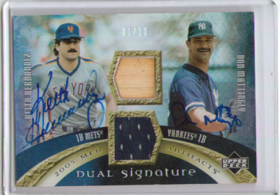 2005 Artifacts Dual Artifacts Signatures #KD Keith Hernandez Bat/Don Mattingly Jsy