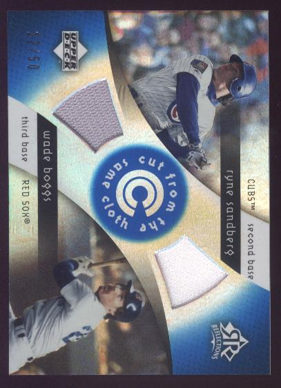 2005 Reflections Cut From the Same Cloth Dual Jersey Blue #SB Ryne Sandberg/Wade Boggs