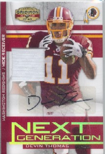 2008 Donruss Gridiron Gear Next Generation Jerseys Autographs Prime #12 Devin Thomas