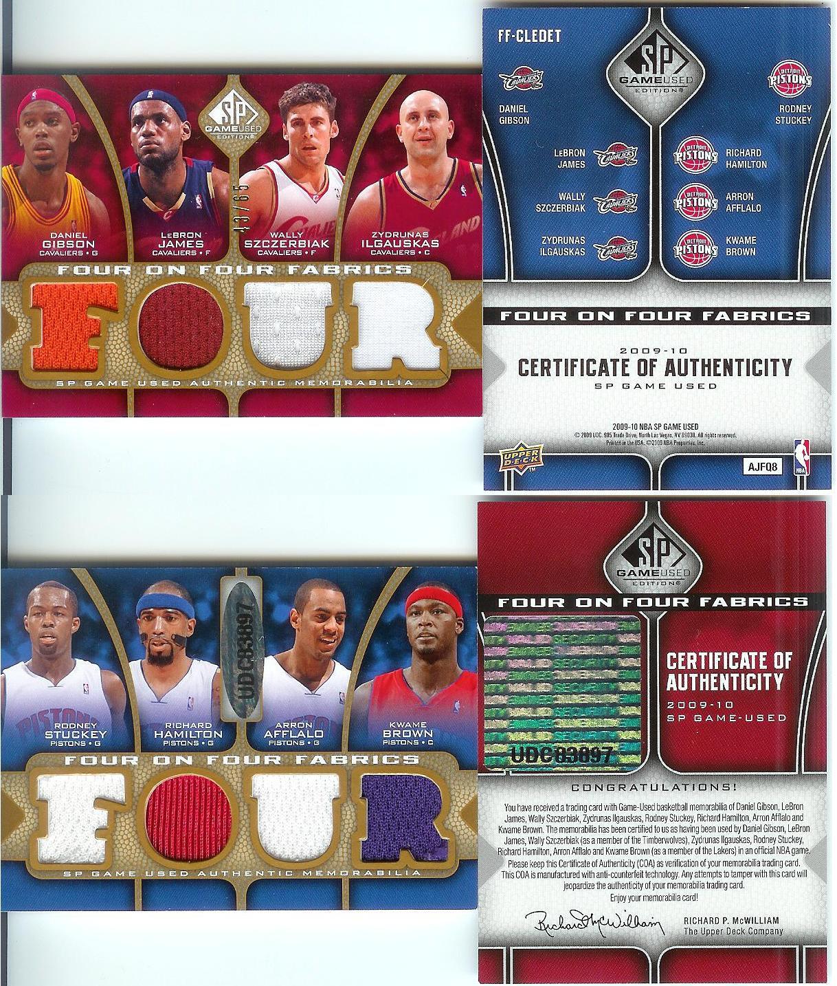 2009-10 SP Game Used 4 on 4 Fabrics 65 #FFCLEDET Rodney Stuckey/Arron Afflalo/Kwame Brown/Richard Hamilton/LeBron James/Wally Szczerbiak/Zydrunas Ilgauskas/Daniel Gibson