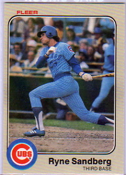 1983 Fleer #507 Ryne Sandberg RC UER/Should say High School/in Spokane, Washington