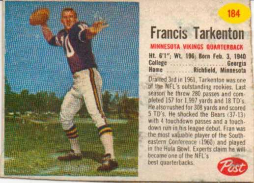 1962 Post Cereal #184 Fran Tarkenton
