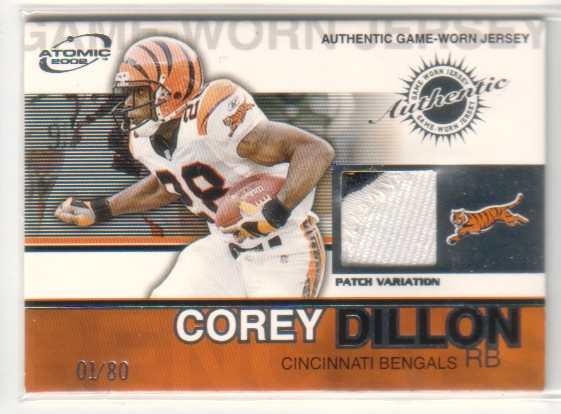 2002 Atomic Game Worn Jersey Patches #17 Corey Dillon/80