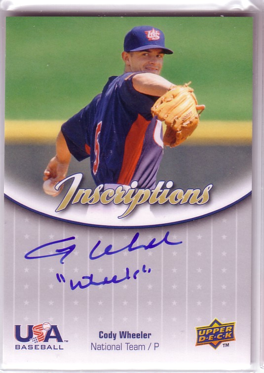 2009-10 USA Baseball National Team Inscriptions Autographs #CW Cody Wheeler