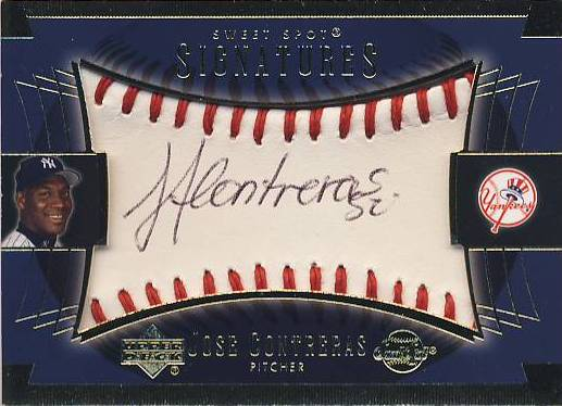 2003 Sweet Spot Signatures Blue Ink #JCAU Jose Contreras