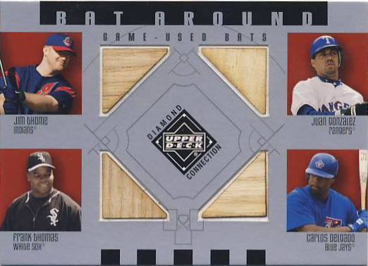 2002 Upper Deck Diamond Connection Bat Around Quads #TGTD Jim Thome/Juan Gonzalez/Frank Thomas/Carlos Delgado