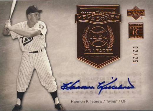 2005 Upper Deck Hall of Fame Seasons Autograph #HK2 H.Kill Twins Batting