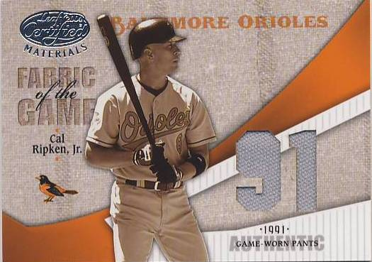 2004 Leaf Certified Materials Fabric of the Game Jersey Year #155 Cal Ripken Pants/91