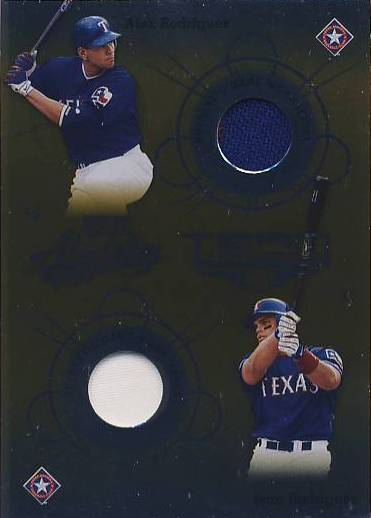 2002 Absolute Memorabilia Team Tandems Materials Gold #TT29 Alex Rodriguez Jsy/Ivan Rodriguez Jsy