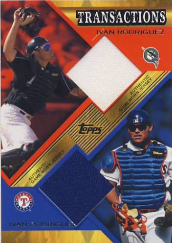 2003 Topps Traded Transactions Dual Relics #IR Ivan Rodriguez Marlins-Rgr