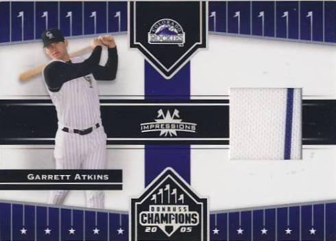 2005 Donruss Champions Impressions Material #113 Garrett Atkins Jsy T4