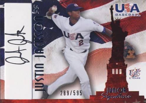 2006-07 USA Baseball Signatures Black #31a Justin Jackson Action/545 *