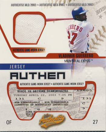 2003 Fleer Authentix Game Jersey #VG Vladimir Guerrero