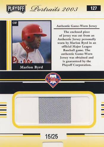 2003 Playoff Portraits Materials Gold #127 Marlon Byrd Jsy/25