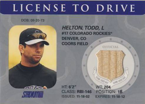 2003 Stadium Club License to Drive Bat Relics #TH Todd Helton