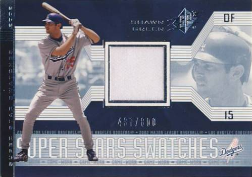 2002 SPx SuperStars Swatches Silver #188 Shawn Green