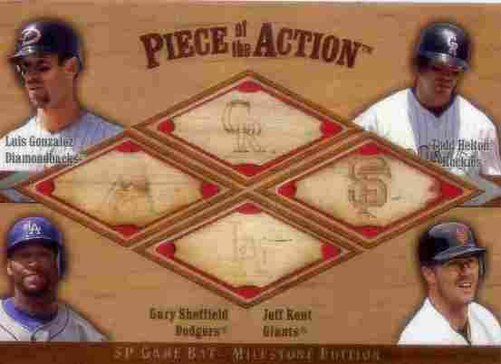 2001 SP Game Bat Milestone Piece of Action Quads #GHSK Luis Gonzalez/Todd Helton/Gary Sheffield/Jeff Kent