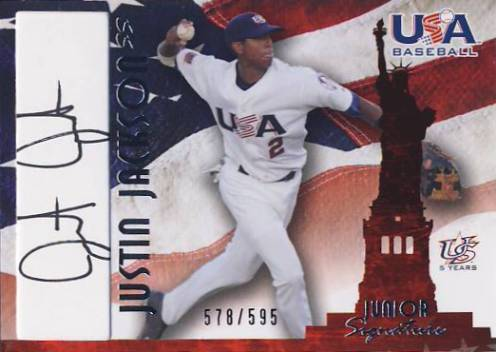 2006-07 USA Baseball Signatures Black #31a Justin Jackson Action/545 *