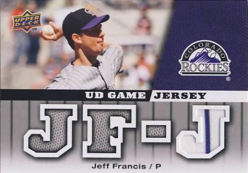 2009 Upper Deck UD Game Jersey #GJJF Jeff Francis