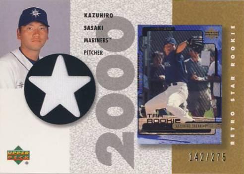 2002 UD Authentics Retro Star Rookie Jerseys Gold #SRKS Kazuhiro Sasaki