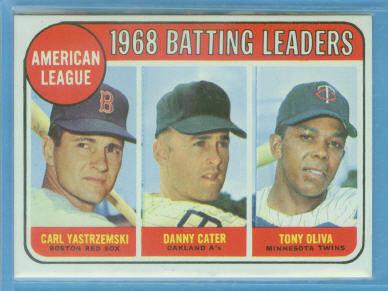 1969 Topps #1 AL Batting Leaders/Carl Yastrzemski/Danny Cater/Tony Oliva