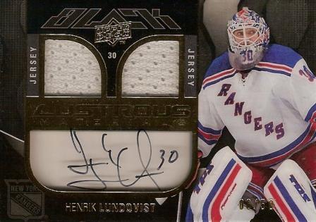 2009-10 UD Black Lustrous Materials Jersey Autographs #LMHL Henrik Lundqvist