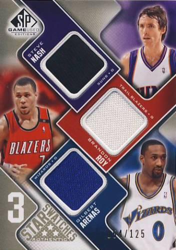 2009-10 SP Game Used 3 Star Swatches 125 #3SNAR Brandon Roy/Gilbert Arenas/Steve Nash