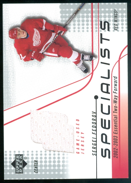 2002-03 Upper Deck Specialists Jerseys #SSF Sergei Fedorov