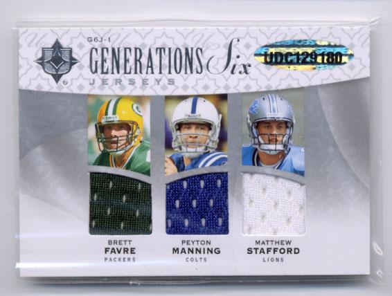 2009 Ultimate Collection Ultimate Generations Six Jerseys Patches #1 Brett Favre/Jim Kelly/Mark Sanchez/Matthew Stafford/Peyton Manning/Terry Bradshaw