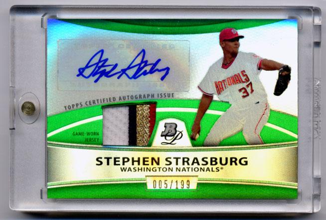 2010 Bowman Platinum Relic Autographs Green Refractors #SS Stephen Strasburg