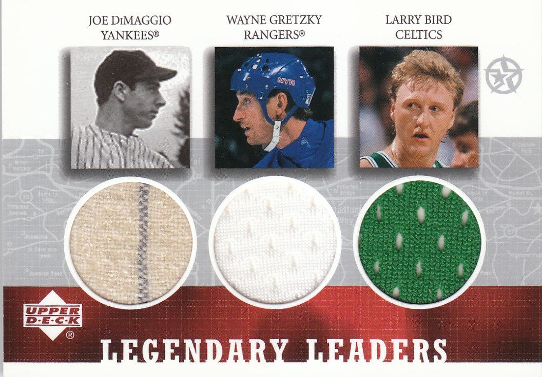 2002-03 UD SuperStars Legendary Leaders Triple Jersey #JWL DiMaggio/Gretzky/Bird