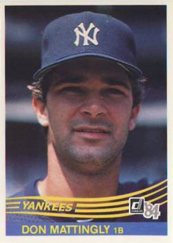 1984 Donruss #248 Don Mattingly RC/UER traiing on back
