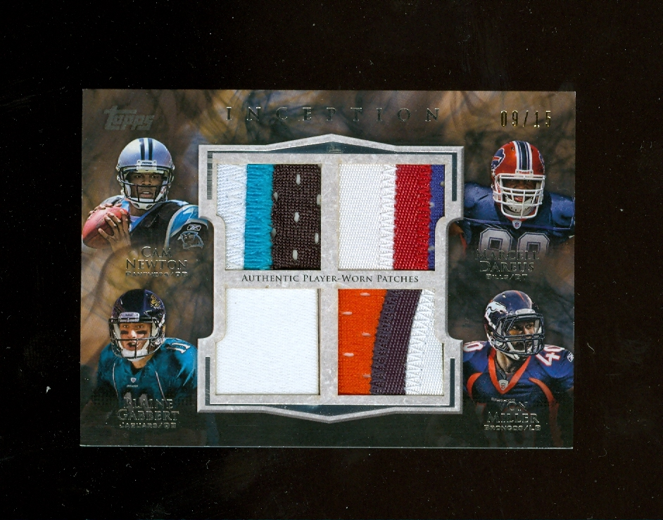 2011 Topps Inception Rookie Quad Patches #NDGM Cam Newton/Marcell Dareus/Blaine Gabbert/Von Miller