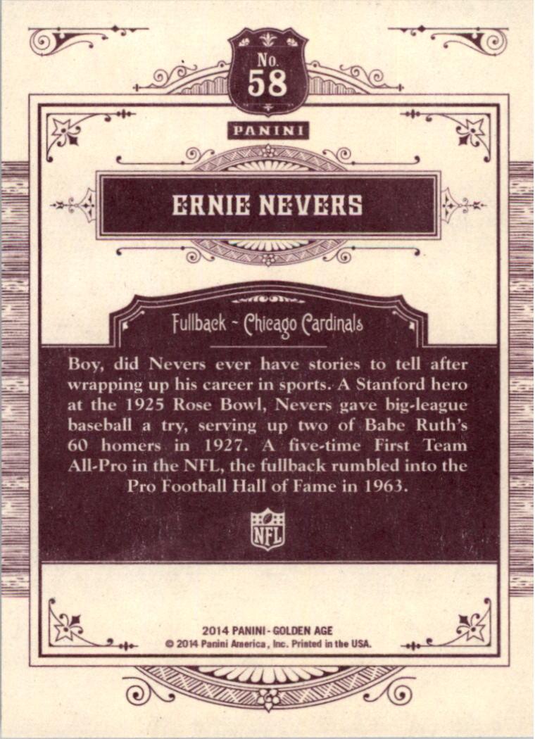 2014 Panini Golden Age #58 Ernie Nevers back image