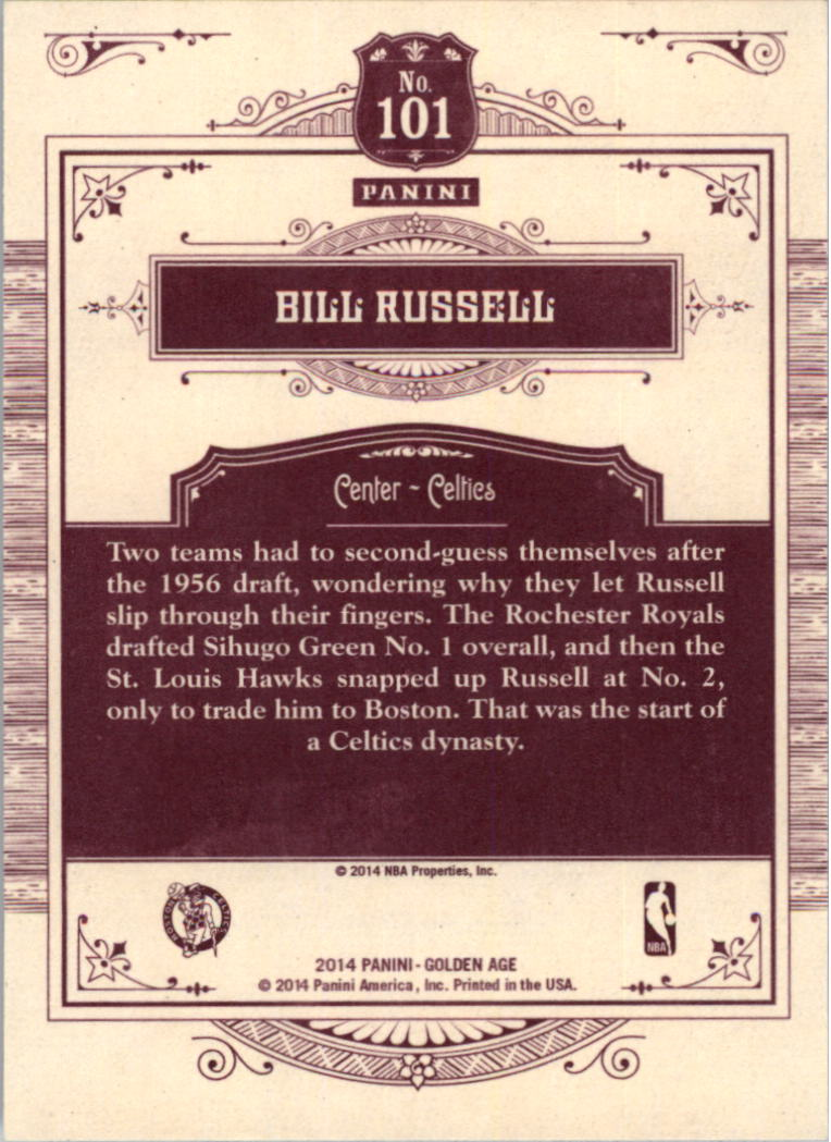 2014 Panini Golden Age #101 Bill Russell back image
