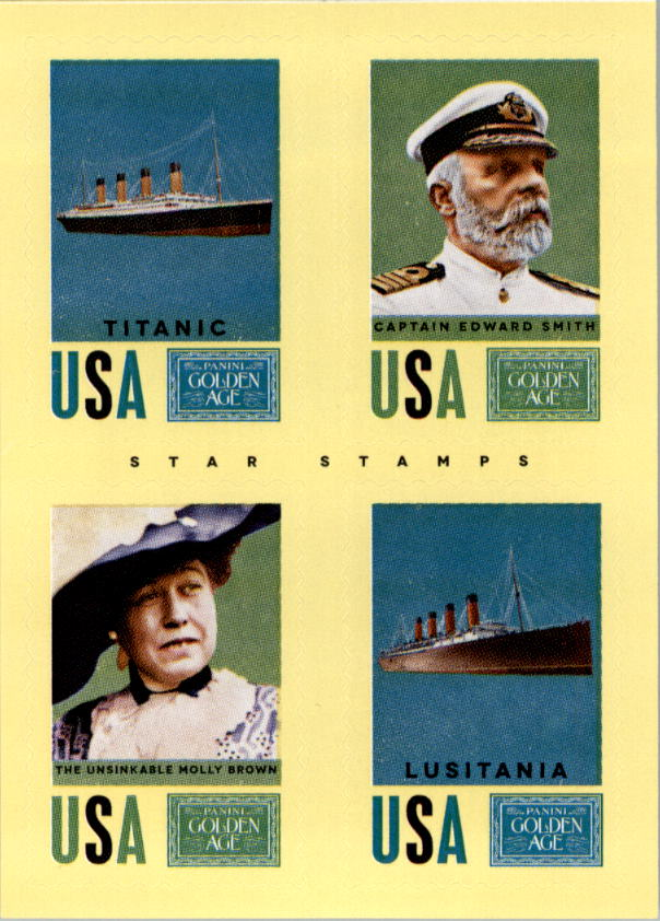 2014 Panini Golden Age Star Stamps #1 Titanic/Captain Edward Smith/The Unsinkable Molly Brown/Lusitania