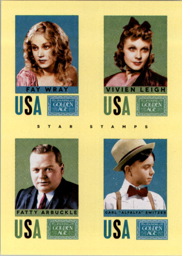 2014 Panini Golden Age Star Stamps #5 Fay Wray/Vivien Leigh/Fatty Arbuckle/Carl Alfalfa Switzer
