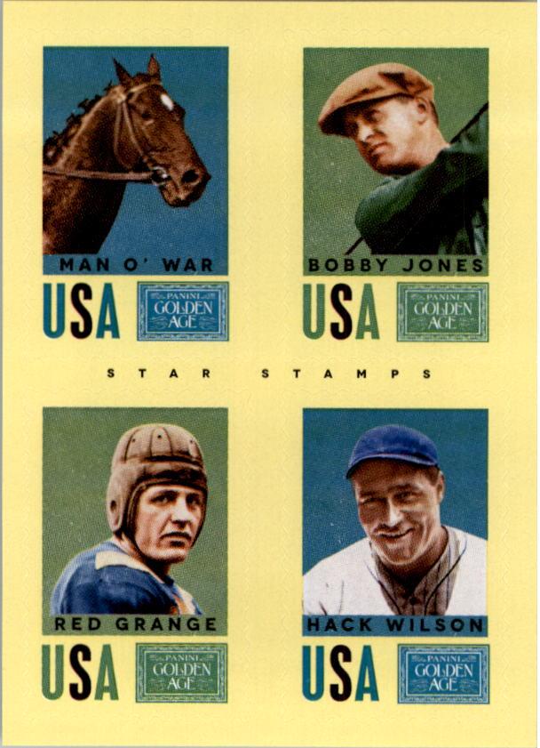 2014 Panini Golden Age Star Stamps #8 Man o' War/Bobby Jones/Red Grange/Hack Wilson