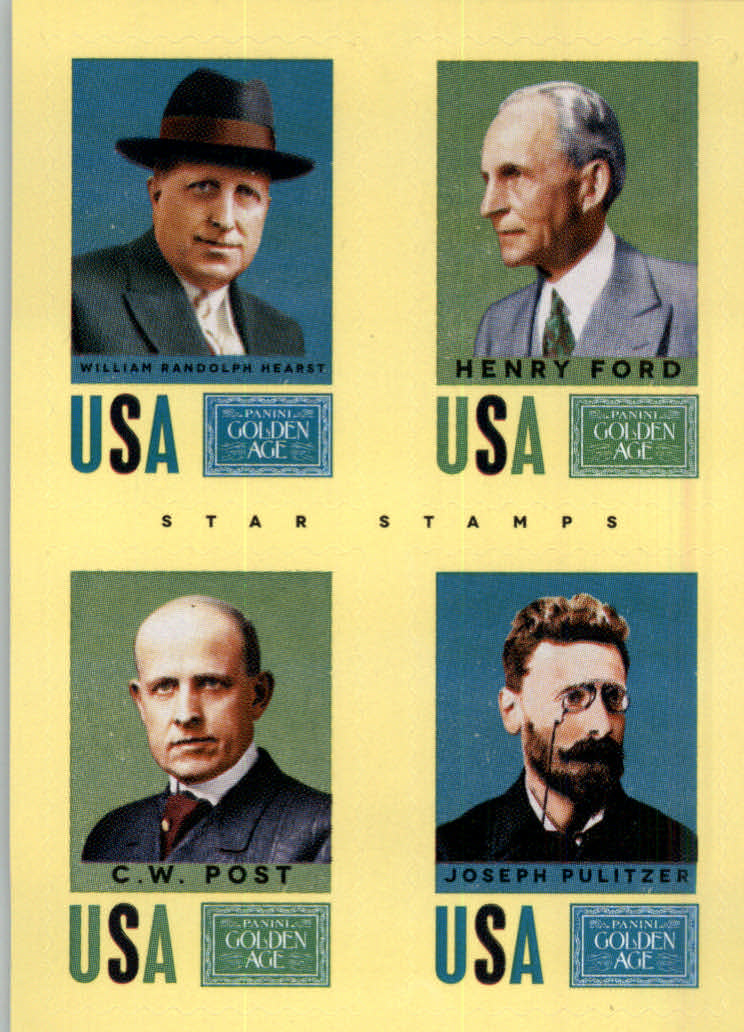 2014 Panini Golden Age Star Stamps #10 Henry Ford/William Randolph Hearst/C.W. Post/Joseph Pulitzer