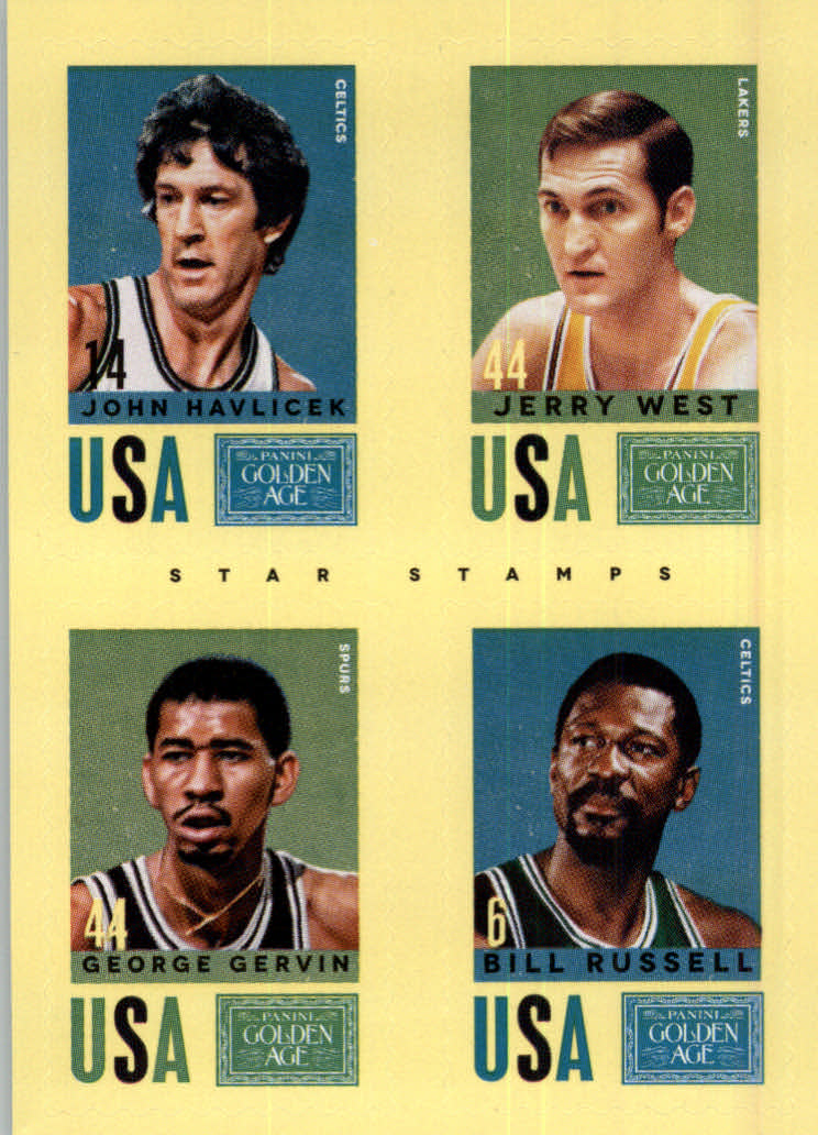 2014 Panini Golden Age Star Stamps #14 John Havlicek/Jerry West/George Gervin/Bill Russell