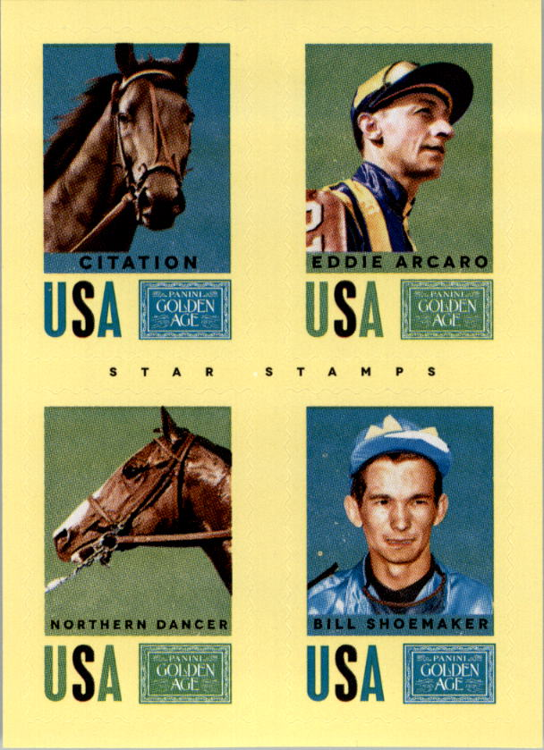 2014 Panini Golden Age Star Stamps #17 Citation/Eddie Arcaro/Northern Dancer/Bill Shoemaker