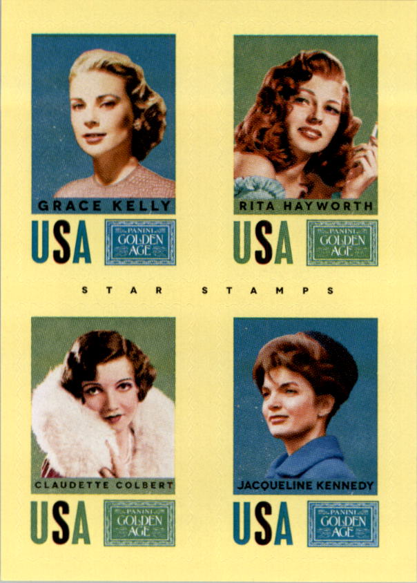 2014 Panini Golden Age Star Stamps #18 Jacqueline Kennedy/Grace Kelly/Rita Hayworth/Claudette Colbert
