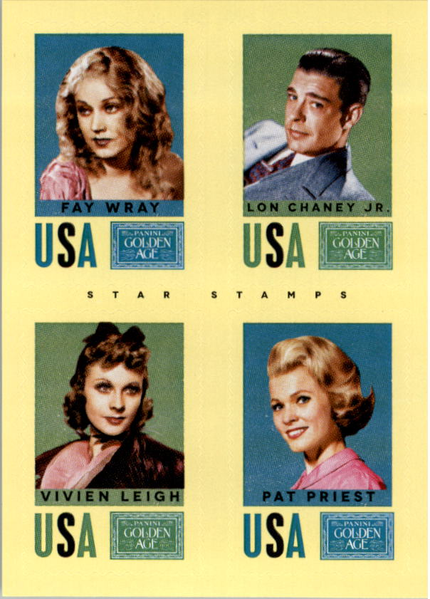 2014 Panini Golden Age Star Stamps #20 Fay Wray/Lon Chaney Jr./Vivien Leigh/Pat Priest
