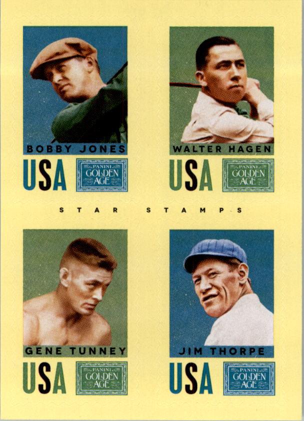 2014 Panini Golden Age Star Stamps #23 Bobby Jones/Walter Hagen/Gene Tunney/Jim Thorpe