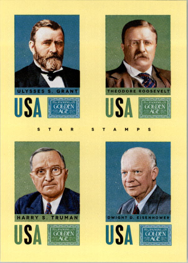 2014 Panini Golden Age Star Stamps #25 Ulysses S. Grant/Theodore Roosevelt/Harry S. Truman/Dwight D. Eisenhower