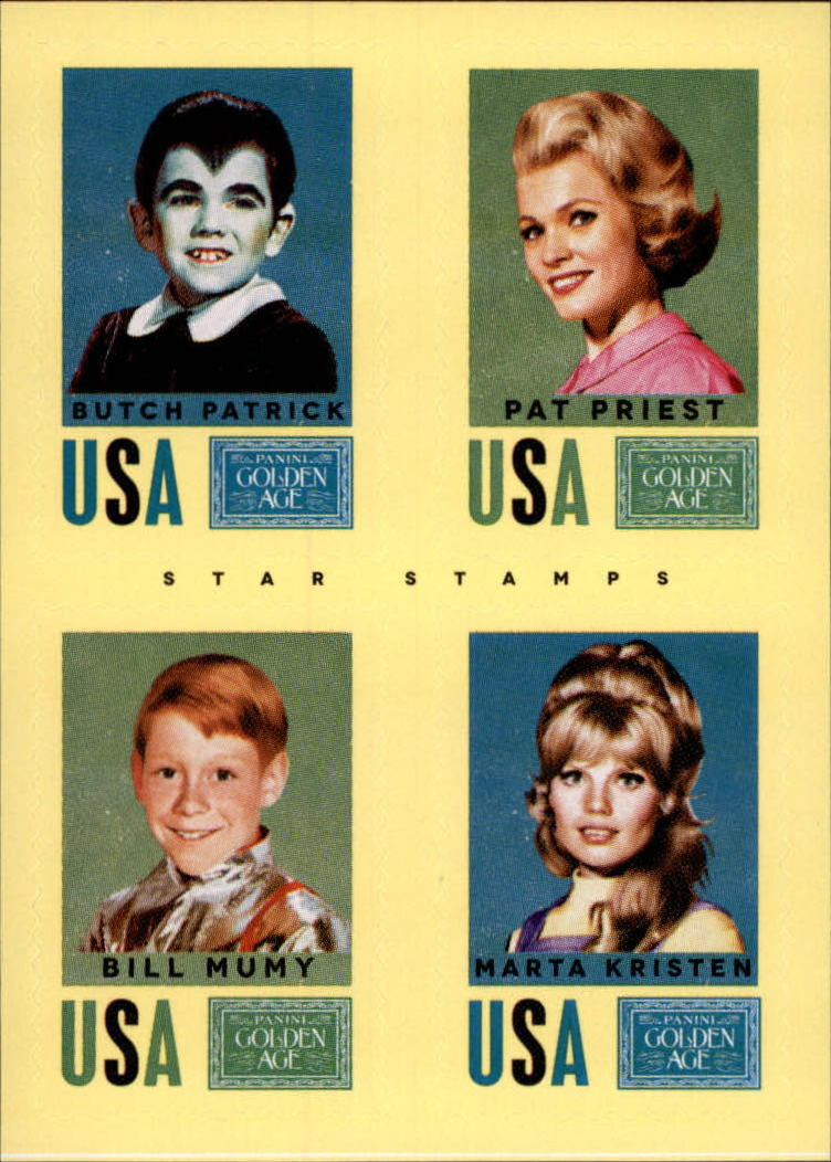 2014 Panini Golden Age Star Stamps #29 Butch Patrick/Pat Priest/Bill Mumy/Marta Kristen
