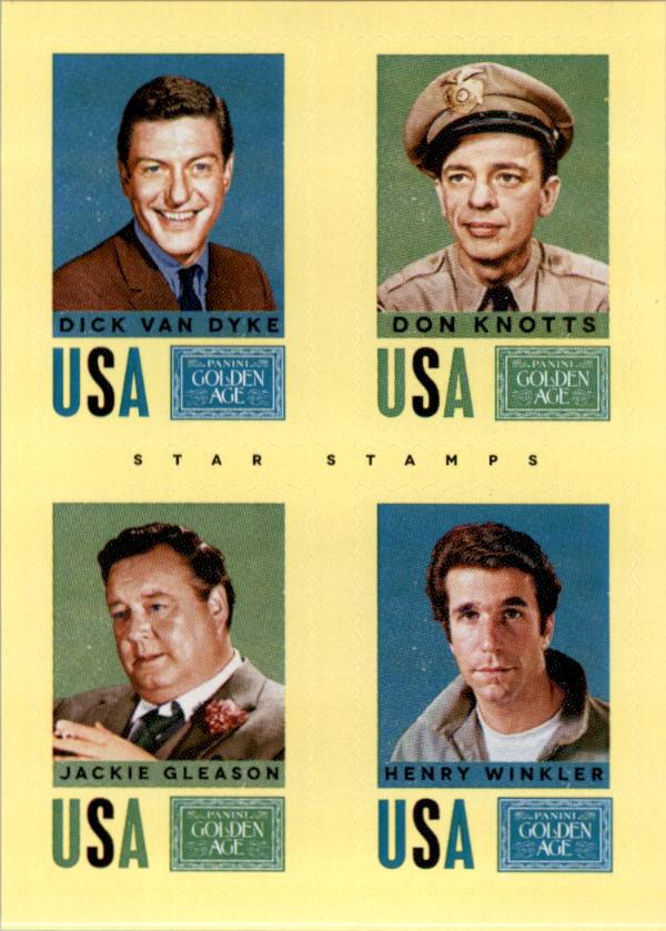 2014 Panini Golden Age Star Stamps #30 Dick Van Dyke/Don Knotts/Jackie Gleason/Henry Winkler