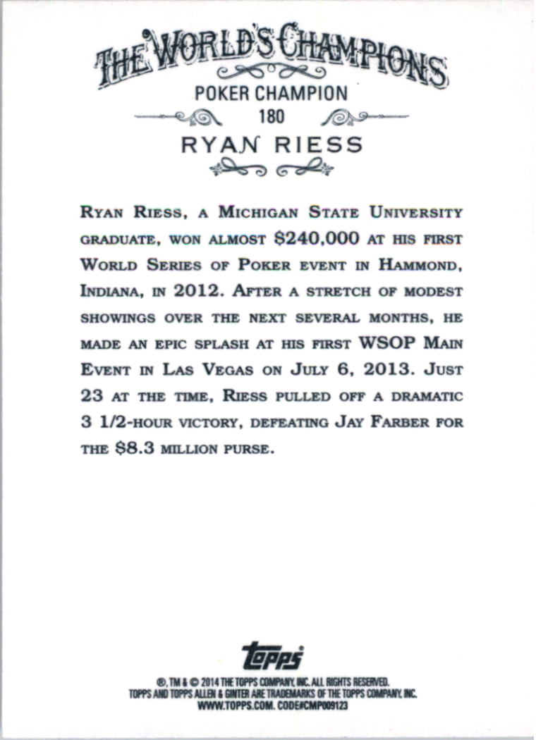 2014 Topps Allen and Ginter #180 Ryan Riess back image